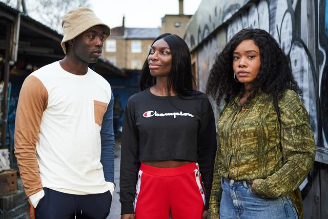 "From left to right: Paapa Essiedu, Michaela Coel, Weruche Opia in ""I May Destroy You."""
