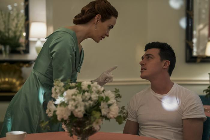 "Sarah Paulson, left, and Finn Wittrock, right, in a scene from ""Ratched."""