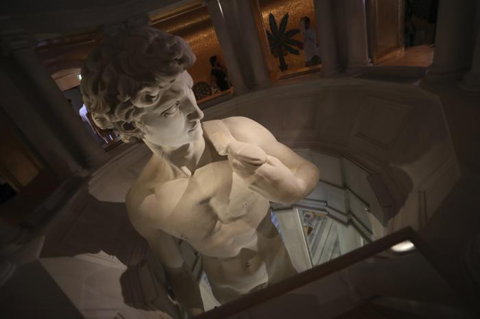 A 3D re-production of Michelangelo's David is on display at the Italy's pavilion of the Dubai Expo 2020 in Dubai, United Arab Emirates.